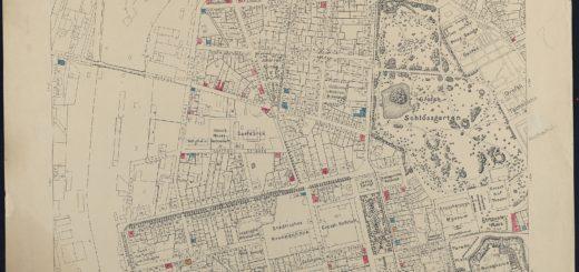 Ausschnitt aus dem Plan der Stadt Darmstadt zur Beurteilung der Gesuche um Erteilung der Erlaubnis zum Betrieb von Schankwirtschaften (Johannesviertel), 1908, StadtA DA Best. 51 Nr. 124