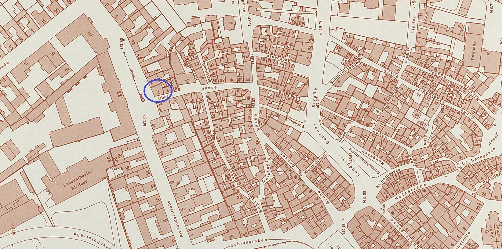 Ausschnitt aus einer Karte von Darmstadts Historischer Stadtmitte vor der Zerstörung (1939), StadtA DA Best. 51 Nr. 115/1