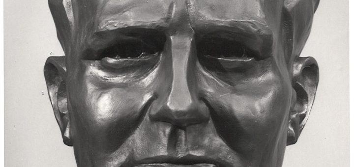 """Bronzebüste """"Carlo Mierendorff"""" von Knud Knudsen, StadtA DA Best. 53"""