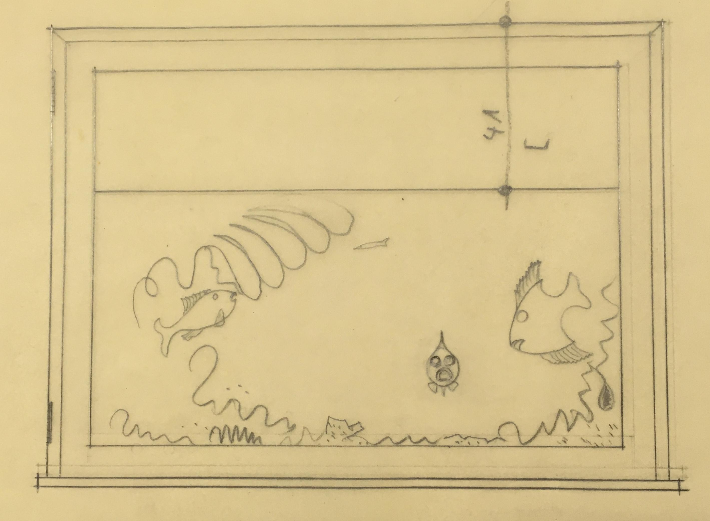 """Entwurf eines Aquariums für den """"Salon Krapf"""" im Gebäude der Aachen-Münchener Feuerversicherung, 1956, StadtA DA Best. 51 Grund, Peter Mappe 51"""