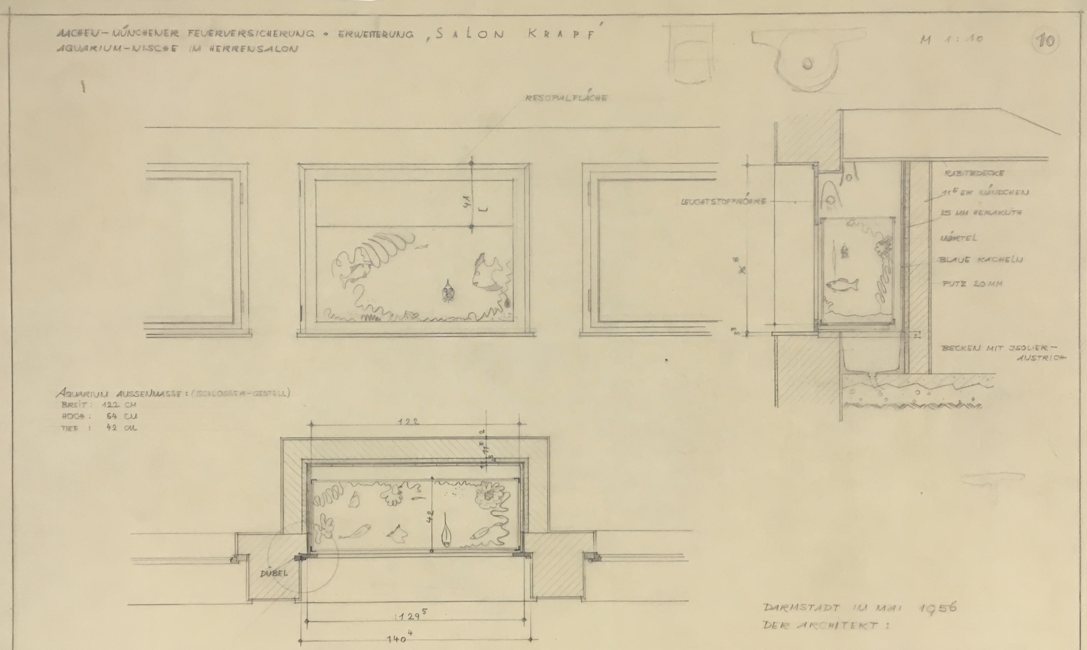 """Erweiterung des """"Salon Krapf"""" im Gebäude der Aachen-Münchener Feuerversicherung um eine Aquarium-Nische , StadtA DA Best. 51 Grund, Peter Mappe 51"""