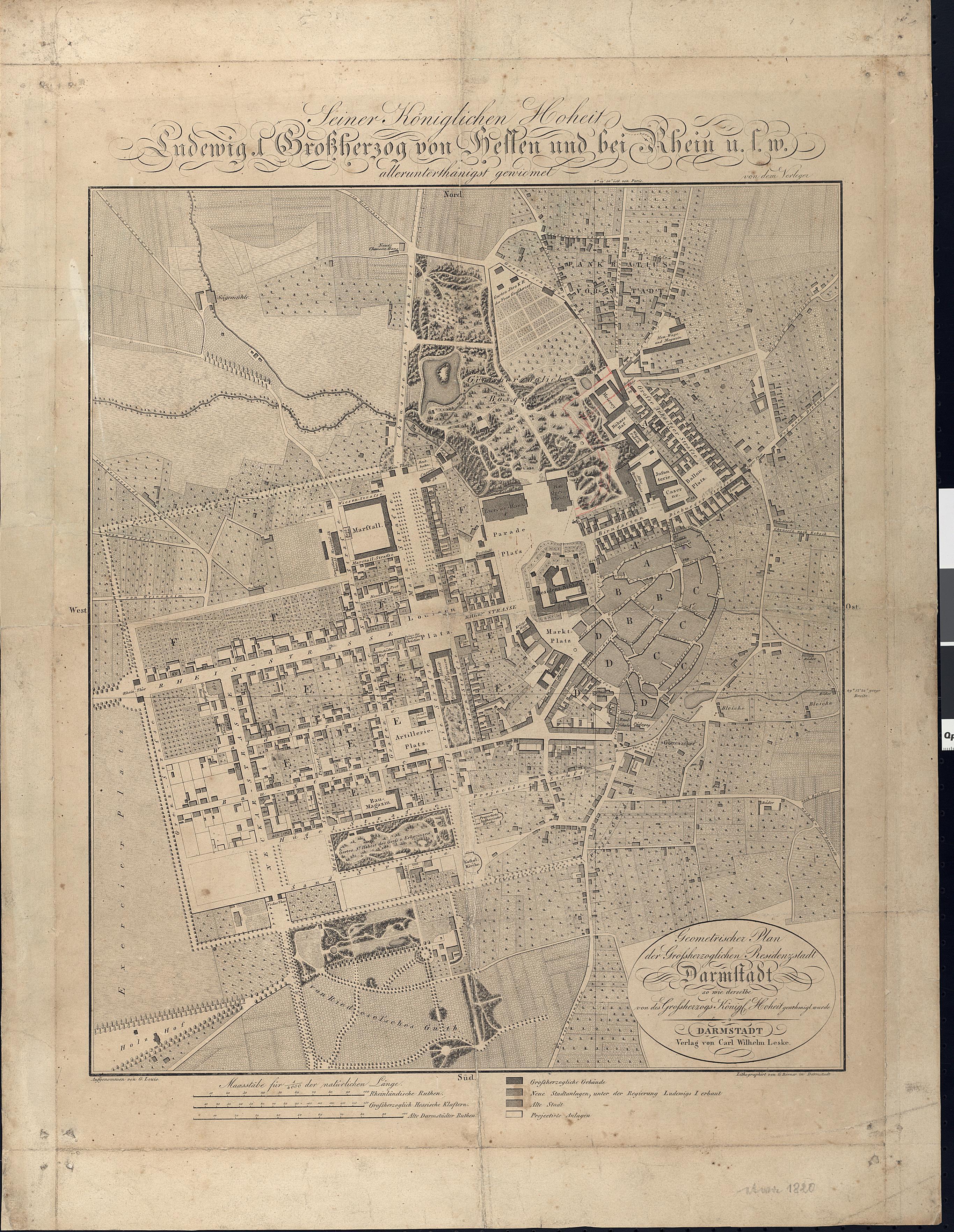 Geometrischer Plan der Großherzoglichen Residenzstadt Darmstadt, 1822, Stadt DA Best. 51 Nr. 1/1