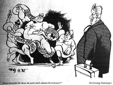 1997: Karikatur der deutschen Beutekunst-Debatte