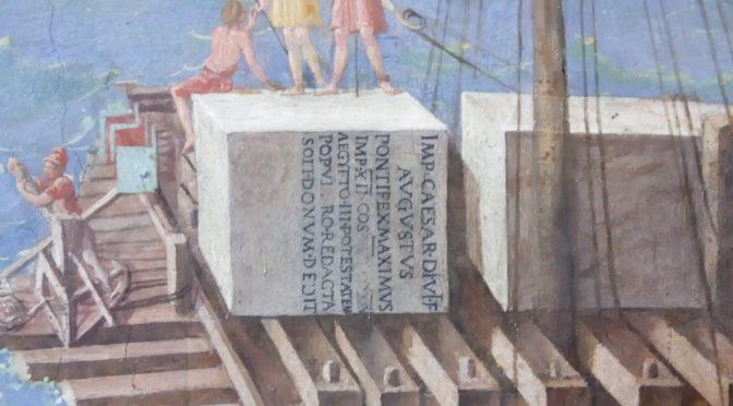 1634: Verschiffung eines Obelisken in einer Stadtvedute im Vatikan