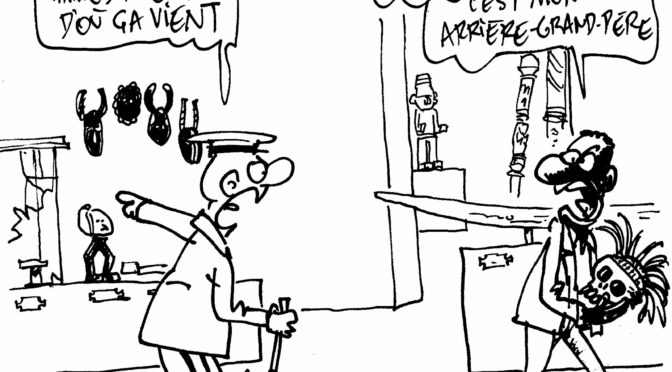 2018: Caricature of Belgian debates on colonial era and repatriation
