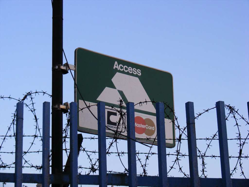 Access (no access) Credit card sign, London, UK, April 21, 2010 © Courtesy of Sludge G/Flickr.