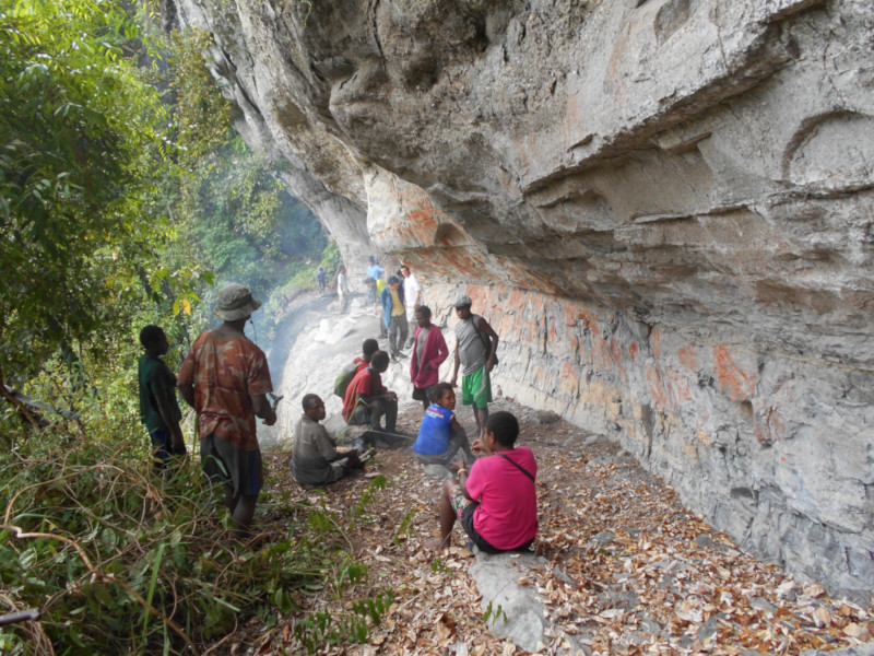 One of the many painted rock shelters in the Awim territory.