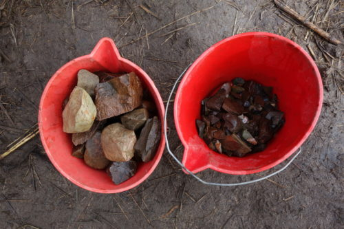 Cleaned lithic artifacts.