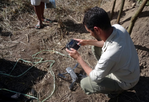 Preparation of the drone for flying at Manim rock shelter
