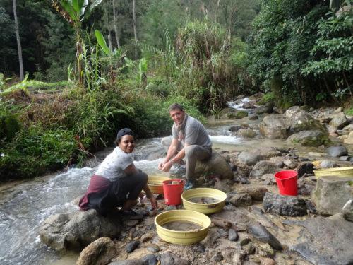 Hubert and Chloe sieving at Manim creek.