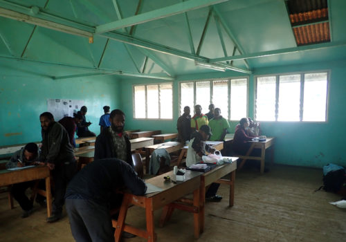 Various data collection stations in a Mt Wilhelm Secondary School classroom.