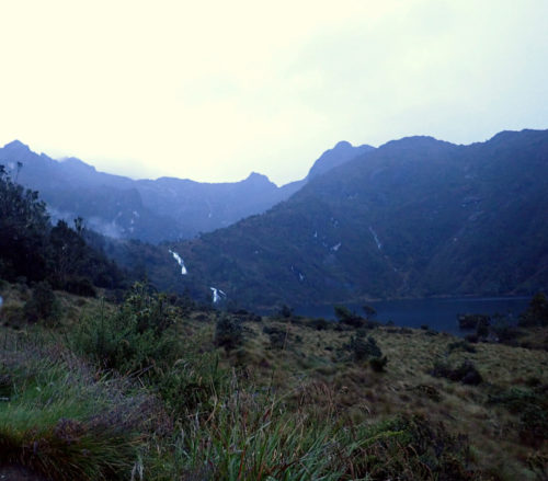 View of Piunde lake within the Mt Wilhelm mountains