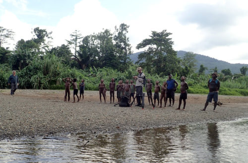 C. Joly controlling the drone along the Arafundiu river, near Imboin village