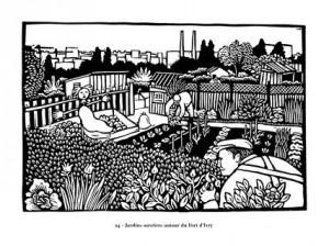 """Joëlle Jolivet, """"Jardins ouvriers autour du fort d'Ivry"""", extrait de Vues d'Ivry, Cornelius, 2001."""
