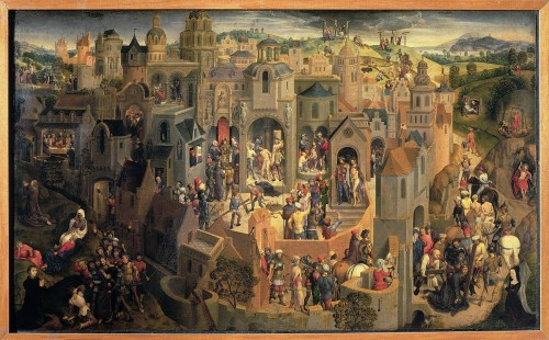 «Hans Memling Passione» par Hans Memling (vers 1433–1494) — Web Gallery of Art:   Image  Info about artwork. Sous licence Domaine public via Wikimedia Commons - https://commons.wikimedia.org/wiki/File:Hans_Memling_Passione.jpg#/media/File:Hans_Memling_Passione.jpg