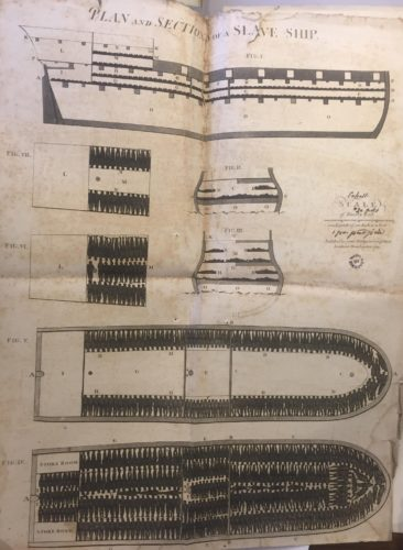 Plan des cales d'un navire négrier avec l'emplacement des esclaves
