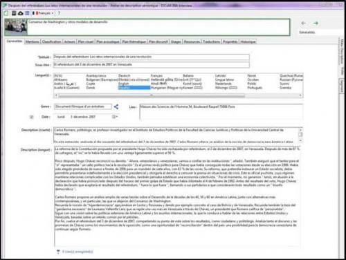 Interface de description du logiciel Interview_Civaux