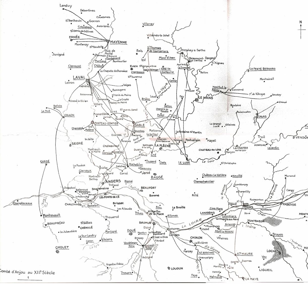 l'Anjou féodal, extrait de J. Boussard, Le comté d'Anjou d'Henri Plantagenêt à la conquête de Philippe Auguste (1938)
