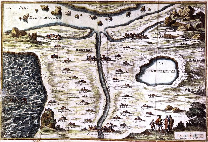 Carte du Tendre, Scudéry, Gravure de François Chauveau, 1654