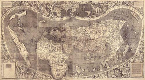 Universalis cosmographia secundum Ptholomaei traditionem et Americi Vespucii alioru[m]que lustrationes (the 1507 Waldseemuller map).