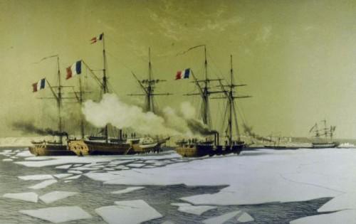La canonnière la Flèche coupant la glace à toute vapeur pour dégager le Vautour et la Flamme