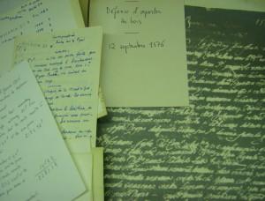 Une partie du fonds Braudel avant traitement archivistique (2012, Archives de la FMSH)