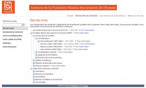 Etat des fonds électronique des Archives  de la FMSH