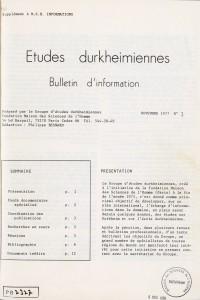 1er numéro des Etudes durkheimiennes