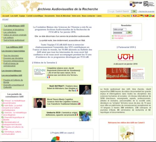 Accueil du portail AAR (2007)