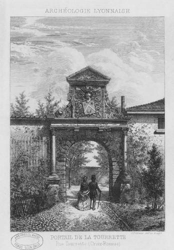 Le portail en 1878, eau-forte de Charles Tournier
