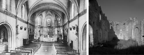 À gauche : « La chapelle » (vue intérieure de la chapelle du petit séminaire de Verrières, vers le chœur). Souvenirs de Verrières. 13 juin 1905 (livret de photographies publié à l'occasion du centenaire du séminaire). À droite : Vue intérieure de la chapelle du petit séminaire de Verrières, vers le chœur, en 2005.