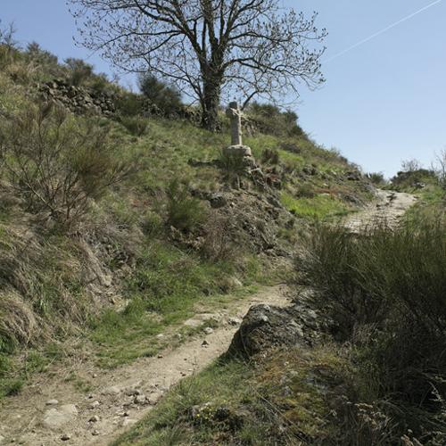 """Essertines-en-Châtelneuf (Loire). Vue d'ensemble de la croix des """"argnats"""" dans son site"""