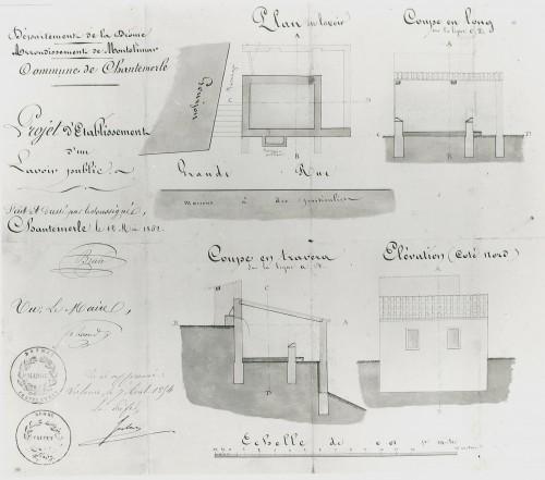 Département de la Drôme. Arrondissement de Montélimar. Commune de Chantemerle. Projet d'établissement d'un lavoir public. Plan, coupes et élévation, dessinés par C. Brun, 12 mai 1852.