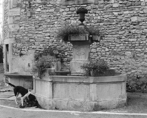Le Pègue, place de la Bourgade. La fontaine principale, datée de 1877.