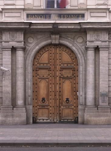 La porte principale de la Banque de France