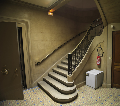 L'escalier aboutissant à la salle des coffres