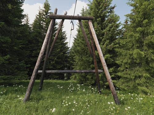 Megève : câble à lait et à bois au sommet de Rochebrune