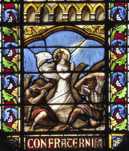 A. Mauvernay, Le Martyre de sainte Catherine, détail de la verrière nord.
