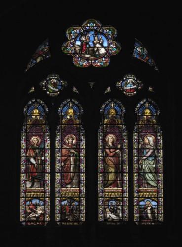Verrière sud : les saints patrons de l'industrie et du travail (Mauvernay).