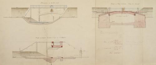 Pont-canal, coupes en long et en travers, élévation ; dessins à l'encre avec lavis (1887).