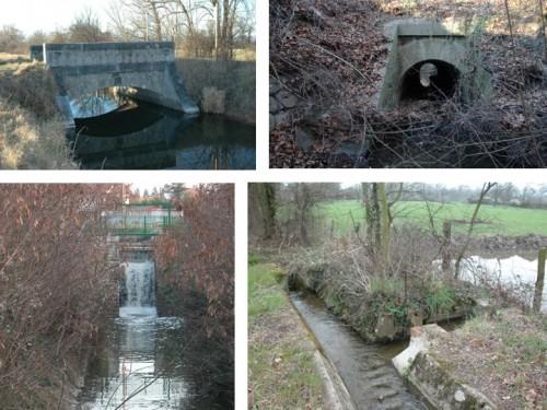 Détails d'ouvrages situés sur le canal du Forez et sur une de ses artérioles.