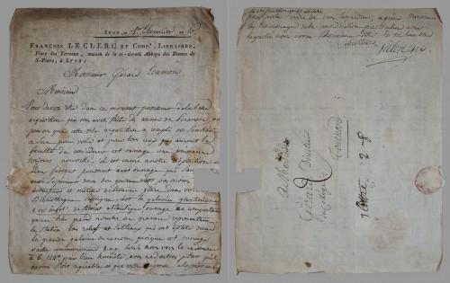 Fig. 7. Lettre du libraire François Le Clerc au Père Gérard