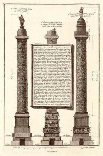 G. Piranesi. Vues comparées de trois états de la colonne Antonine, planche du recueil Trefeo sia colonna magnifica..., 1776