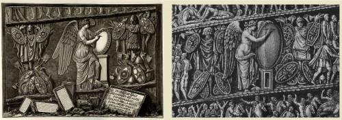 Fig. 9. G. Piranesi, Allégories de la Victoire : sur la colonne Trajane (à gauche), sur la colonne Antonine (à droite)