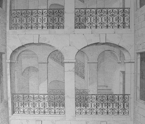 L'escalier de la rue Confort à Lyon (Pierre Martin, Recherches sur l'art du Moyen Age et de la Renaissance)