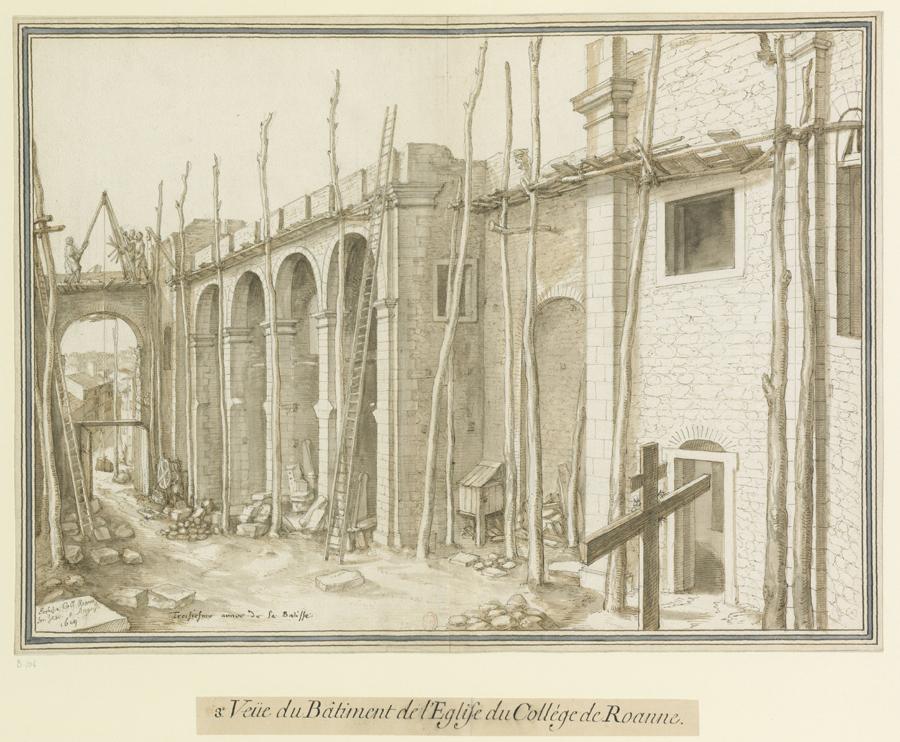 Fig. 10. Troisième vue de l'église du collège de Roanne, 5 août 1619 (BnF, Est., Ub 9, f. 104)