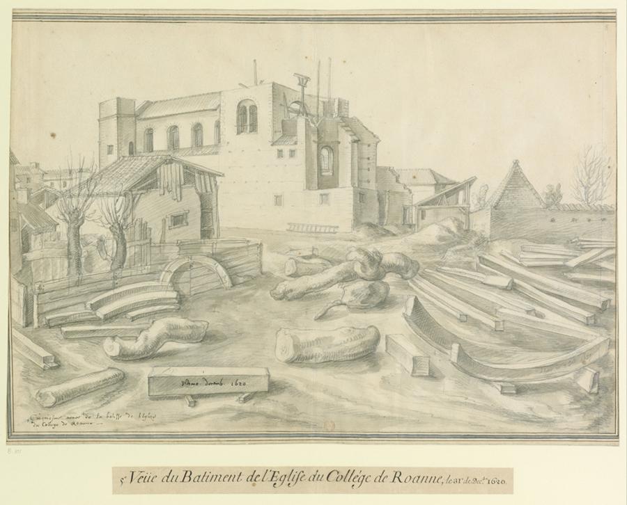 Fig. 12. Cinquième vue de l'église du collège de Roanne, 31 décembre 1620, (BnF, Est., Ub 9, f. 101)