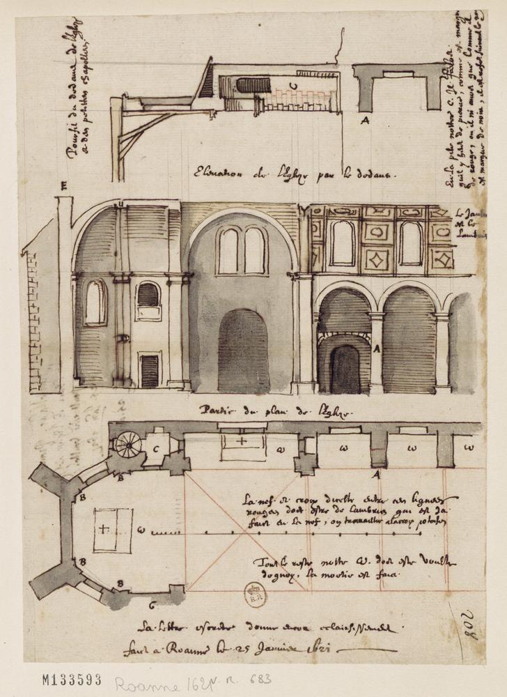 Fig. 13. Plan et élévations de l'église de Roanne, 25 janvier 1621 (BnF, Est., Hd 4-(8), f. 208)