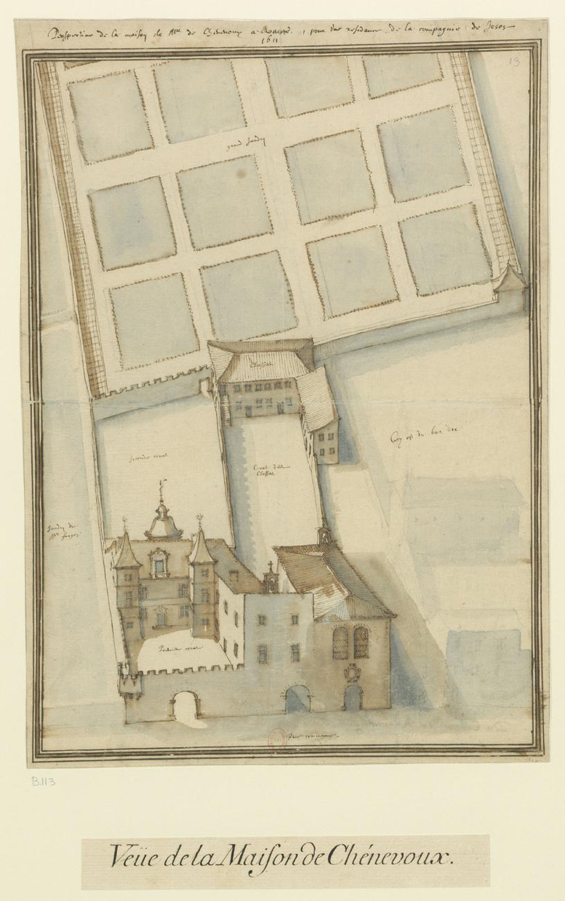Fig. 3. Perspective de la maison de Monseigneur Chenevoux à Roanne, pour une résidence de la Compagnie de Jésus, 1611, BnF, Ub 9, f. 113