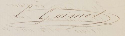 Signature d'Emile Guimet. Archives municipales de Lyon, 480 WP 048 2, repro. Gilles Bernasconi / Archives municipales de Lyon